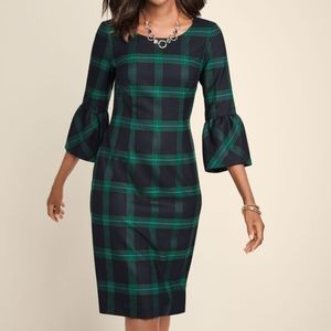Talbots BLACK WATCH PLAID DRESS Bell Sleeve sz 6P